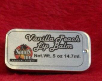 Vanilla Peach Lip Balm in a sliding tin
