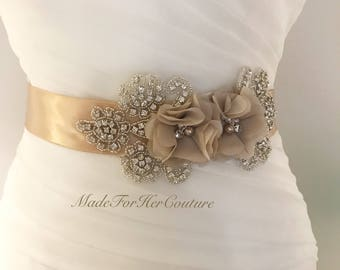 Wedding Belt, Wedding Sash, Bridal Sash, Bridal Belt, Champagne Bridal Sash, Champagne Wedding Belt, champagne bridal belt, champagne sash