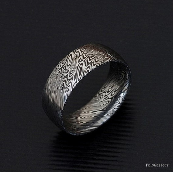 Non Metal Wedding Bands >> Genuine stainless Damascus Steel Mens Ring PD18