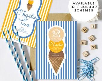 Ice Cream Birthday Party Invitations (Personalised DIY Printables)