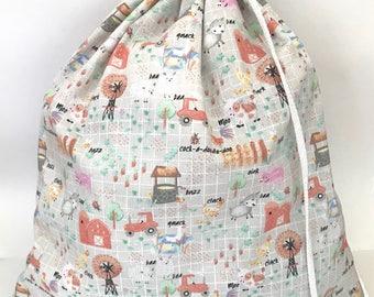 Drawstring Bag/ Library Bag - Farm