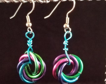 Mobius Earrings, Blue, Green, Magenta, Purple Chain maille
