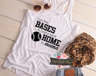 Baseball Mom Shirt/Women's Baseball Shirt/Baseball Mom/Run The Bases And Come Back Home to Mama