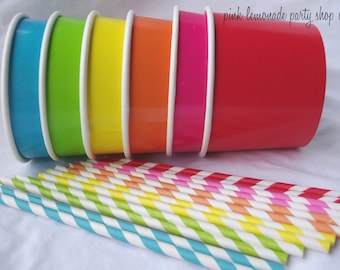 20 Large ICE CReaM cups- 20 paper straws with free printable flags-and diy ice cream labels-red, hot pink,lime green, orange, yellow, blue