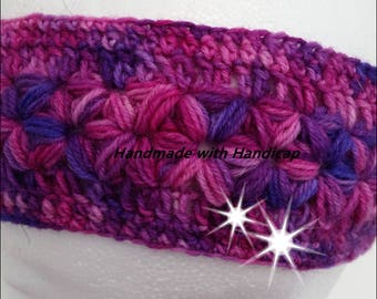 Headband and hand cuffs made of self-dyed wool