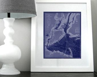 New York Harbor Nautical Chart Map 1963 Blue DIGITAL PRINT for Download 16 x 20 PRINT, Printable Art, Map Art Prints, Maps