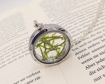 Glass locket with real moss in silver