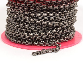 3ft 5.7mm Rolo Chain - Matte Gunmetal - 5.7mm Links - CH81