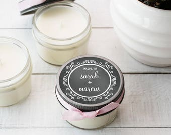 Set of 12 - 4 oz Soy Candle Wedding Favors - Chalkboard Label | Chalkboard Wedding Favors | Wedding Favor Candles | Personalized Favors