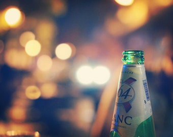 Fantasy Lights Bokeh, Bokeh Photography, Bottle Wall Decor, Aqua Photo, Yellow Bokeh Print.