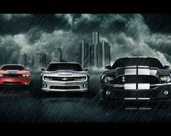 2011 Dodge Challenger, Camaro, Mustang clouds Poster 24x36 inches