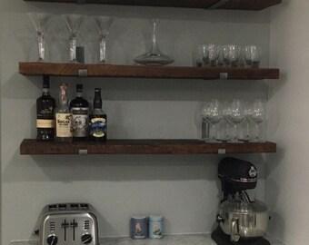 "11"" DEEP BY....Reclaimed Wood Shelves With 2 Handmade Steel Shelf Brackets"