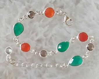 Green Onyx, Carnelian, Smokey Quartz and Sterling Silver Bracelet
