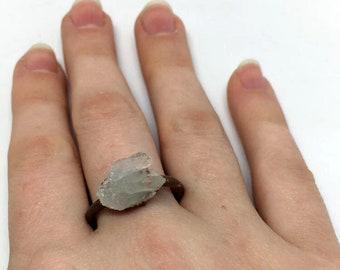 Quartz Crystal Cluster Ring, Size 7.75 ring, Quartz Ring, copper ring, quartz jewelry, gift for her, crystal cluster jewelry, crystal