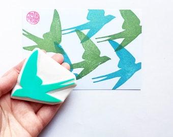 swallow stamp | bird rubber stamp | woodland animal | diy card making | wedding birthday spring crafts | hand carved by talktothesun