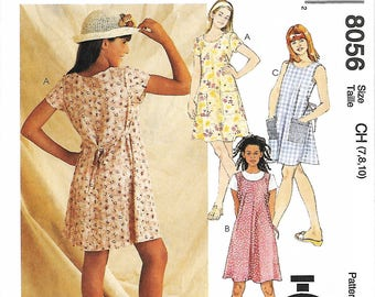 McCall's 8056 Girls 60 Minute Dress Or Jumper Sewing Pattern, Size 7-8-10, UNCUT