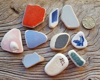 Pottery Tile Pieces - English North East Coast Vintage Seaglass - Direct from Imogen's Beach