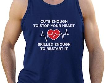 Restart Your Heart Funny Gift For Nurse Singlet