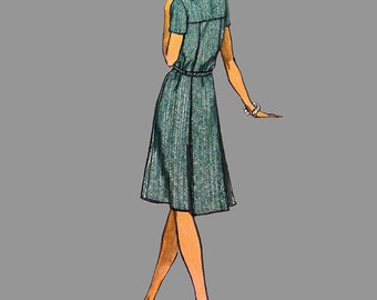 1974 Dress Pattern Vogue Americana 1098 Geoffrey Beene Loose fitting A line dress Short or long sleeves Size 16 Bust 38