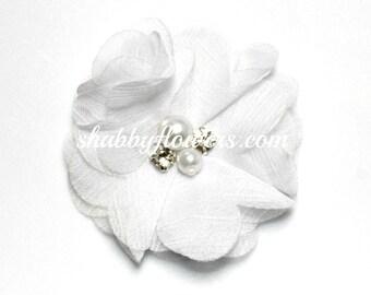 Chiffon Pearl and Rhinestone Diy Flower, 2 inch flowers for headbands, baby flower headbands, shabby flowers, ELLIE in White