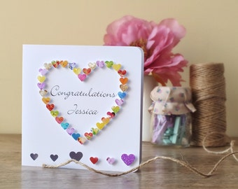 Handmade 3D Congratulations Card - Personalised Congratulations Card, Wedding Congrats, Names, Engagement, Exams, Personalized BHE13