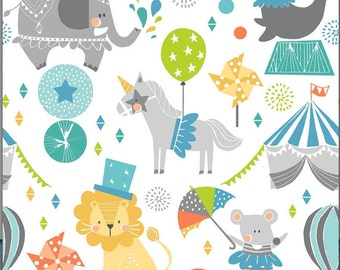 Circus Fabric - Step Right Up Blue The Calliope Collection by Maude Asbury - Elephant, Seal, Lion, Unicorn - Blend Fabrics - One Yard Fabric