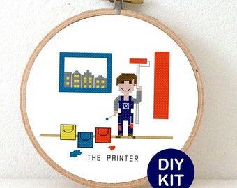 Cross Stitch Kit Painter. gift for do-it-yourself family. modern cross stitch design including embroidery hoop