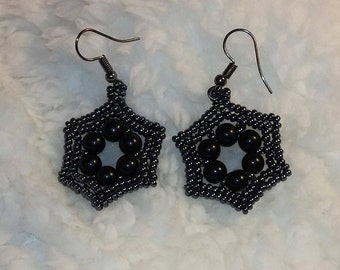 obsidian earrings, beadwork earrings, woven earrings, gifts for her