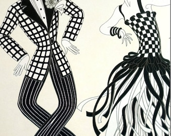 Erte Matted Print 1982 - CHARLESTON FLAPPERS DANCERS Dancing Checkered Fashion  -  Art Deco Costumes Illustration Ready to Frame