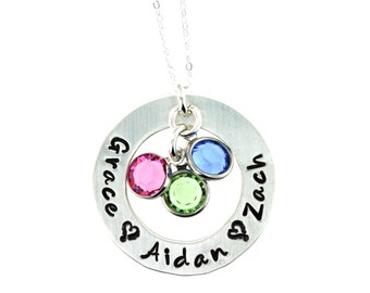 Hand Stamped Jewelry - LOVES of My Life, A Circle of Names I LOVE With Birthstone Crystals