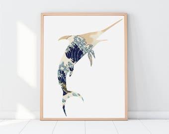 The Great Wave, Fishing, Printable Art, Beach Decor, Beach House, Wall Art, Blue Painting, Famous, Ocean Print, Wave Art, Ocean Decor, Waves