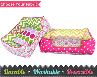 Spring Dog or Cat Bed - Washable, Comfortable, Choose your fabric, Free Embroidery, Pink Dog Bed, Pet Furniture, Durable, Pet Bed