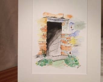 Original Pen and Watercolour painting by Angela Blackburn Artist Old Outhouse Doorway Shed