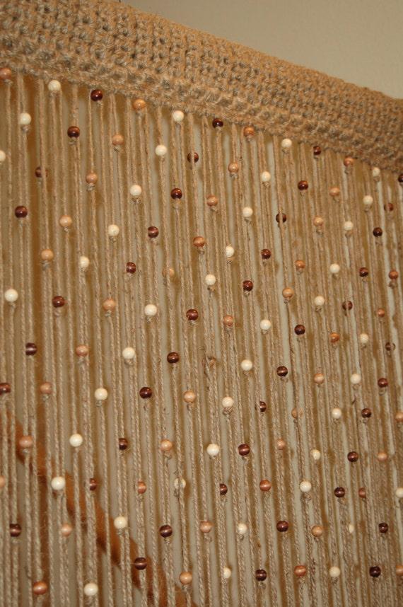 Natural Jute Crochet Curtain Door / Window With Wooden Beads