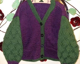 Plum perfect lace detail childs cardigan