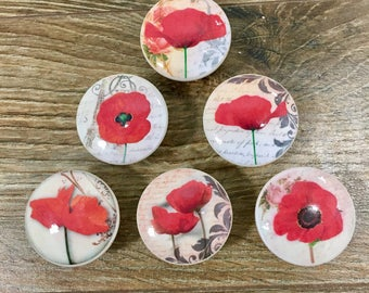 1.5 inch Red Poppy cabinet knobs, drawer pulls, floral, flowers, kitchen decor
