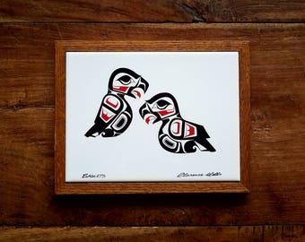 Clarence Wells Framed Eaglets Tile, Native American Art, Northwest Indian Art, Canadian Indian Art, Clarence Wells