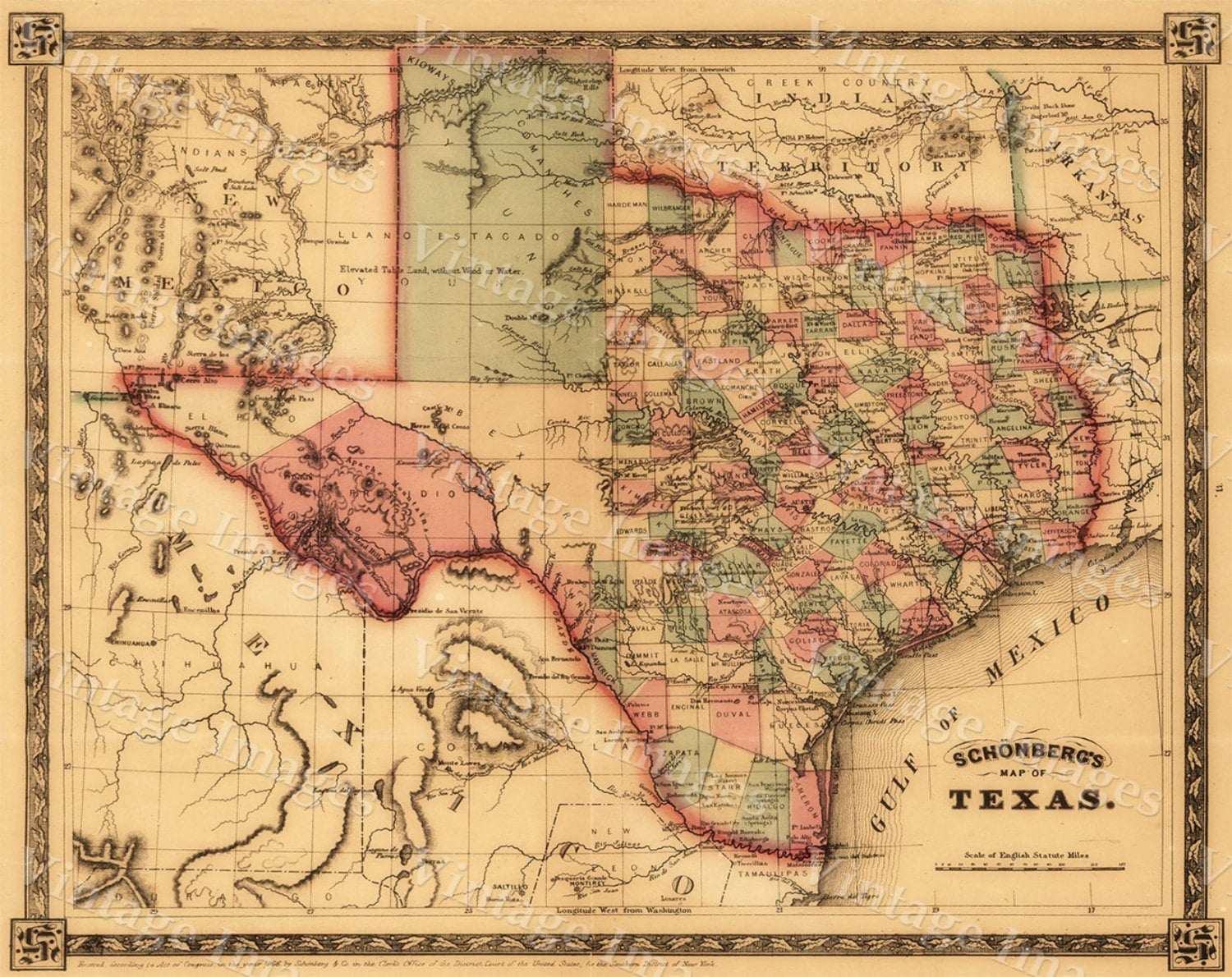 Texas map Giant 1866 old Texas map OLD WEST map Antique