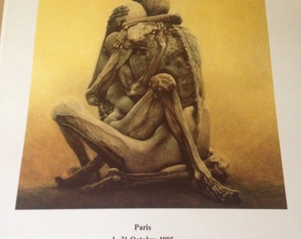 Genuine Zdzislaw Beksinski super rare print from his First Exhibition outside Poland, Paris 1985