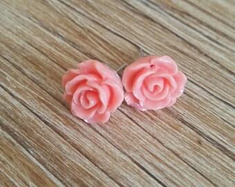 Peach Rose Stud Earrings, Pink Roses