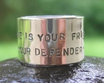 He Is Your Friend, Your Defender, Your Dog . wide inscribed sterling silver band . inscribed on inside & outside . pet parent gift