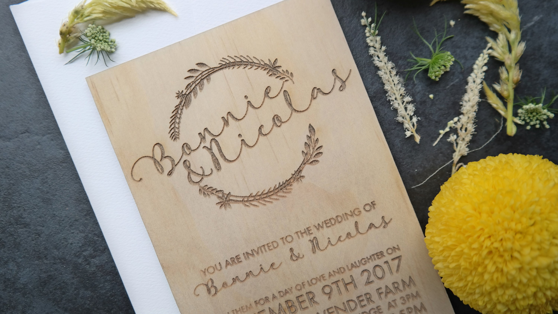 Wedding invitation. Laser engraved botanical wreath wedding ...
