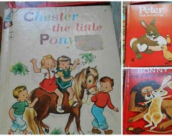 LOT of vintage wonderbooks childrens books - animals rand mcnally