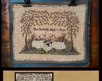 Old Wool Co & She Seeketh Wool n Flax- Double Pattern Cross Stitch Packet- Instant Download