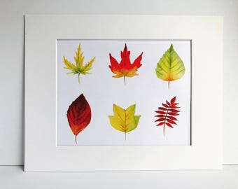 Fall Leaf Watercolor Print, Fall Decor, Autumn Decor, Fall, Foliage, New England
