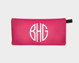 Monogram Pencil Case, Personalized Pencil Case, Custom Name Pencil Bag, Monogram Make Up Bag, Pink Pencil Pouch, Zipper Pencil Pouch