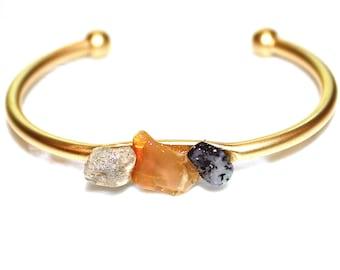 Welo Opal Gold Cuff Ethiopian Opal Cuff Raw Stone Cuff Opal Bracelet Raw Opal Bracelet Boho Bracelet Boho Cuff Stacking Bangle Modern