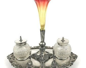 Stunning Antique Desk Inkwell, Inkwell and Epergne, Floral Display, Inkstandish, Silver Plate, James Deakin, Glass Vase, Unique Quality