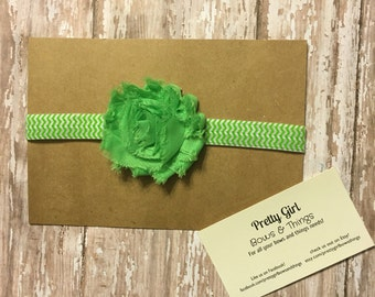 Lime green flower on a lime green and white chevron Headband Elastic, easter headband, spring headband, first easter headband, shabby flower