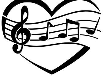 Musical heart SVG cutting file